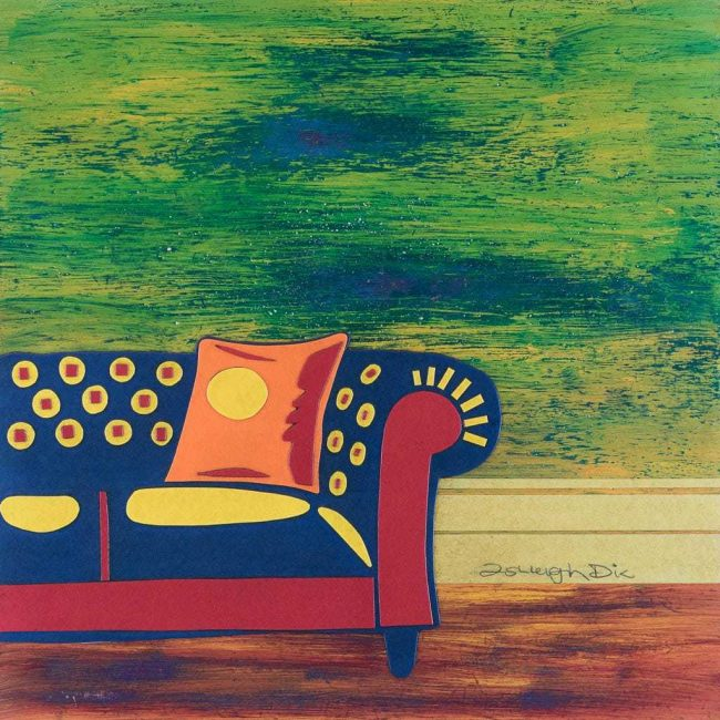 Mixed Media Collage Art for Sale. Mixed media art artwork by artist Ashleigh Dix. Title: Just a Couch