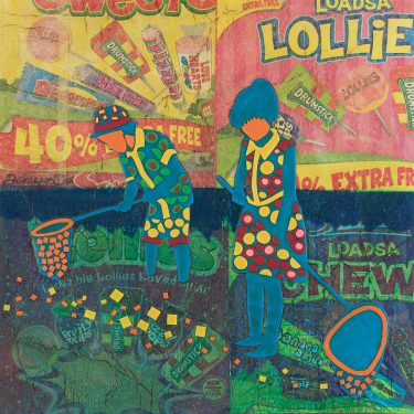Mixed Media Collage Art for Sale. Mixed media art artwork by artist Ashleigh Dix. Title: Lollies