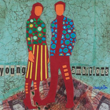 Mixed Media Collage Art for Sale. Mixed media art artwork by artist Ashleigh Dix. Title: Young and Ambitious
