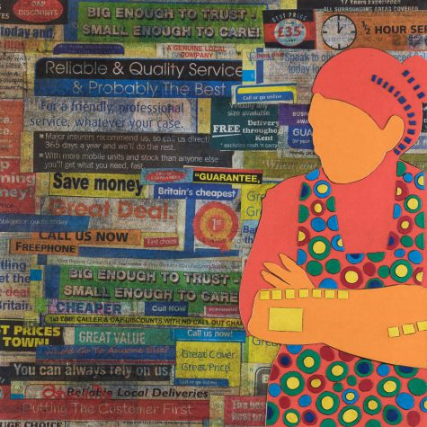 Mixed Media Collage Art for Sale. Mixed media art artwork by artist Ashleigh Dix. Title: Confused