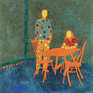 Mixed Media Collage Art for Sale. Mixed media art artwork by artist Ashleigh Dix. Title: Breakfast Table