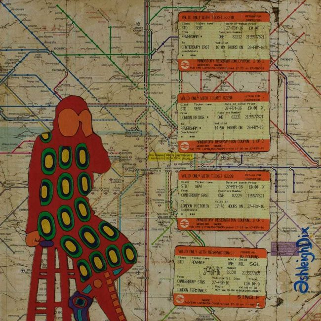 Mixed Media Collage Art for Sale. Mixed media art artwork by artist Ashleigh Dix. Title: Delays