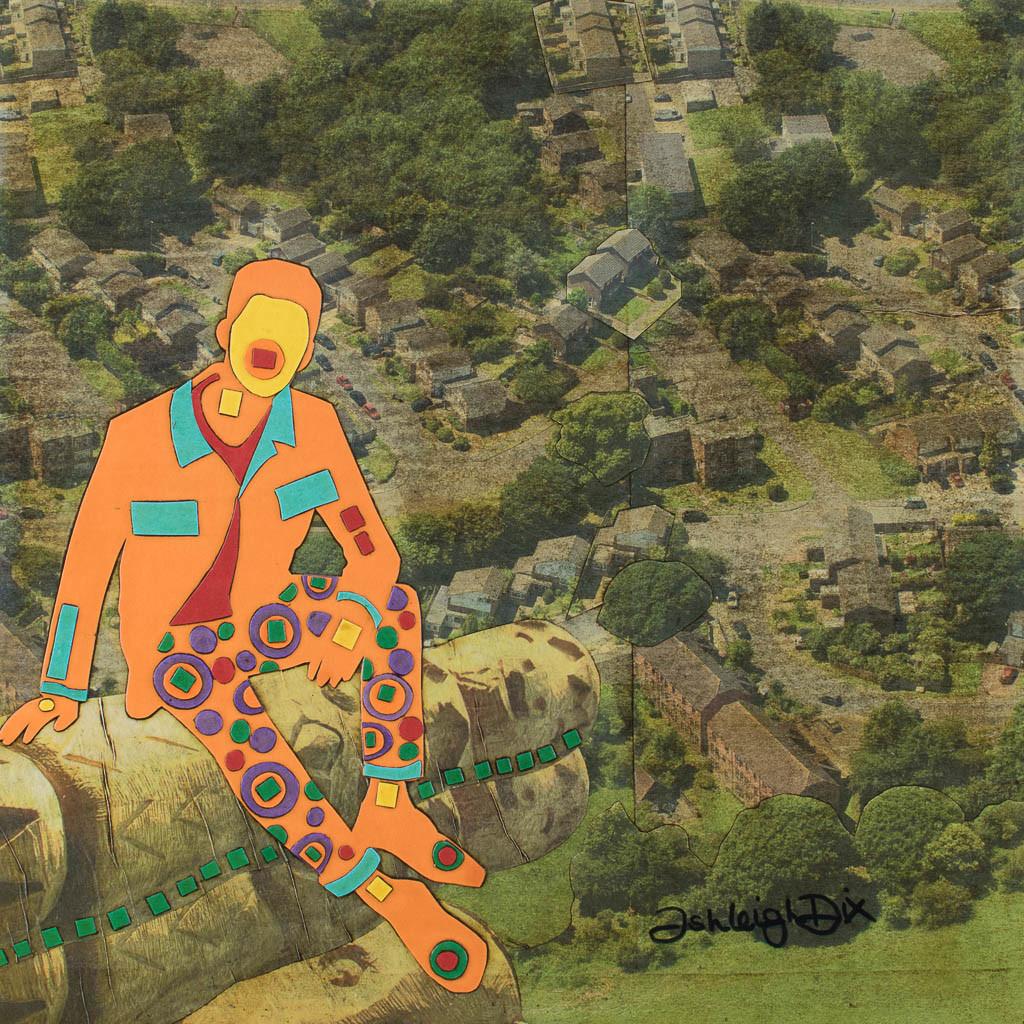 Mixed Media Collage Art for Sale. Mixed media art artwork by artist Ashleigh Dix. Title: Neighbourhood Watch