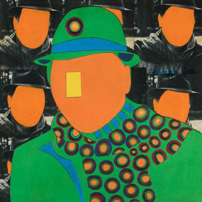 Mixed Media Collage Art for Sale. Mixed media art artwork by artist Ashleigh Dix. Title: The Man in the Green Hat