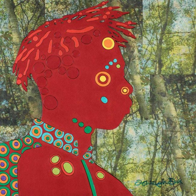 Mixed Media Collage Art for Sale. Mixed media art artwork by artist Ashleigh Dix. Title: Redhead