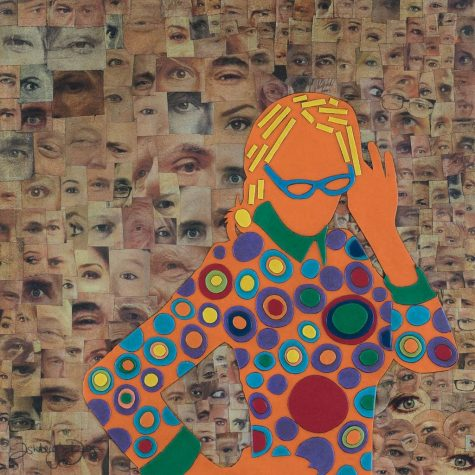 Mixed Media Collage Art for Sale. Mixed media art artwork by artist Ashleigh Dix. Title: Eye Spy