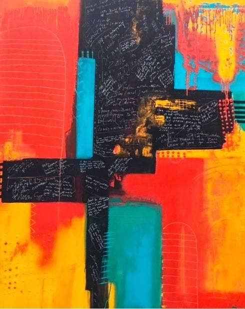 Mixed Media Art Blog - Artist Interview - Sue Munson - Mixed Media Artist - RAJASTHAN - £1,500 - 120cm x 150cm