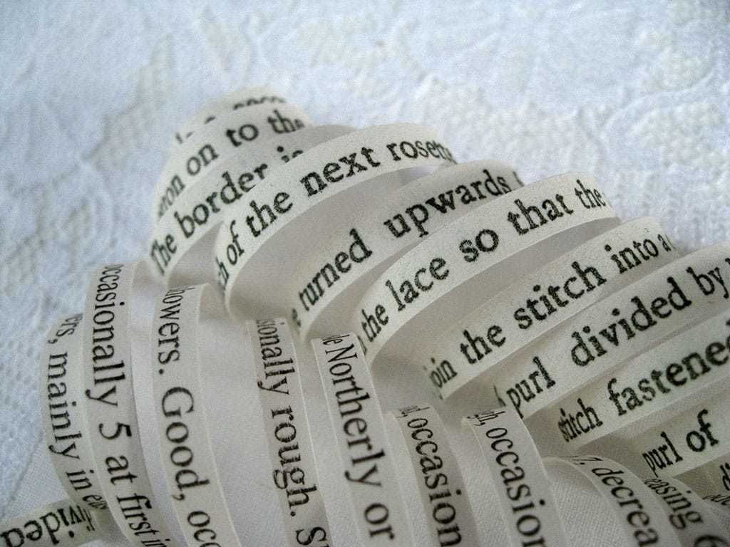 Mixed Media Art Blog - Artist Interview - Thurle Wright - Book Art - Detail from a tiny text embroidered handkerchief.